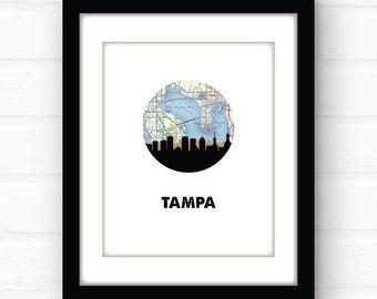 Tampa art print | Tampa Bay area map art | Tampa skyline art | Tampa, Florida map art | Tampa map art | Florida home decor | Florida print