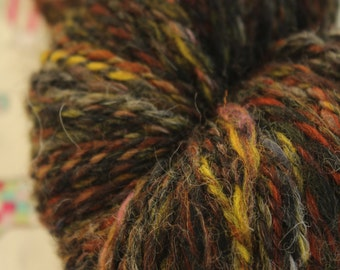 Hand spun DK weight yarn, 100% wool, in muted colours.