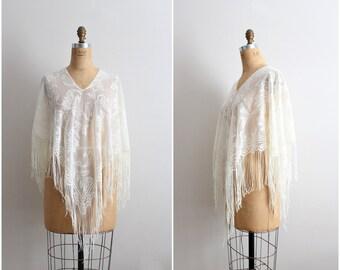 70s Bohemian White Spanish Mantilla / Piano Shawl/ Boho White Shawl / 1970s/ One size