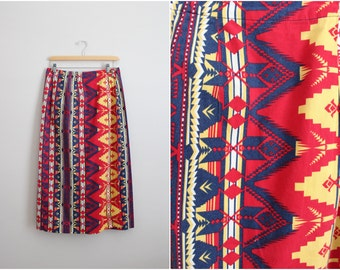 Vintage Tribal Navajo Southwest pattern Maxi Skirt / High waisted Skirt/ 1980s Skirt / Size S/M