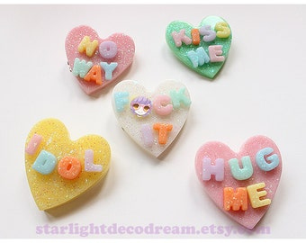 CHOOSE ONE 2WAY Conversation Heart Hair Clip or Badge Pin for Fairy Kei, Valentine's Day, or Kawaii Cute