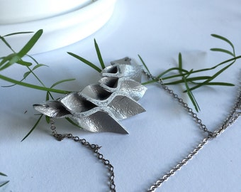 Grey Shimmer Origami Leather Necklace//Petals//Small