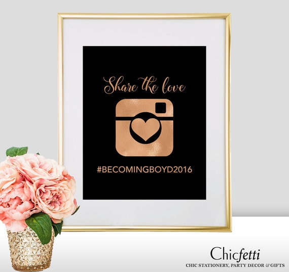Spanish Wedding Hashtags: Hashtag Wedding Sign Foil Heart Wedding Hashtag Sign By