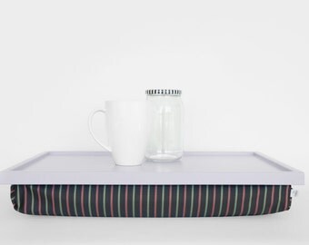 Minimalistic lap desk, breakfast Tray- light grey tray with Grey, mint and pale red striped pillow