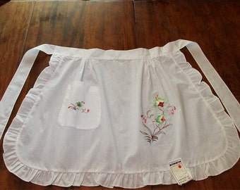 Vintage Asian Floral Embroidered Half Apron Unused