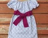 Girls Gray Lattice Quatrefoil Peasant Dress with Plum Berry Sash 3 6 12 18 24 2T 3T 4T 5/6 7/8 9/10 11/12 Sibling Dress Sister Outfit Fall