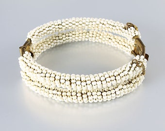 Miriam Haskell Bracelet, White Seed Bead Oval Bangle, vintage Hollywood jewelry