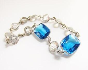 Vintage 1920s Art Deco Czech Blue Crystal Bracelet Open Back