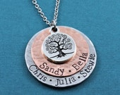 Personalized Necklace - Hand Stamped Family Tree Necklace - Hand Stamped Jewelry
