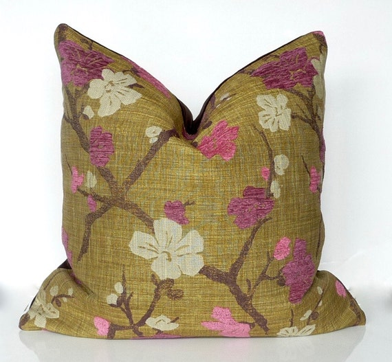Pink olive green decorative pillow luxury pillow fuchsia for Luxury decorative throw pillows
