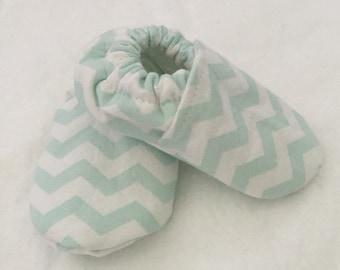 Chevron Mint Green/White Baby Shoes