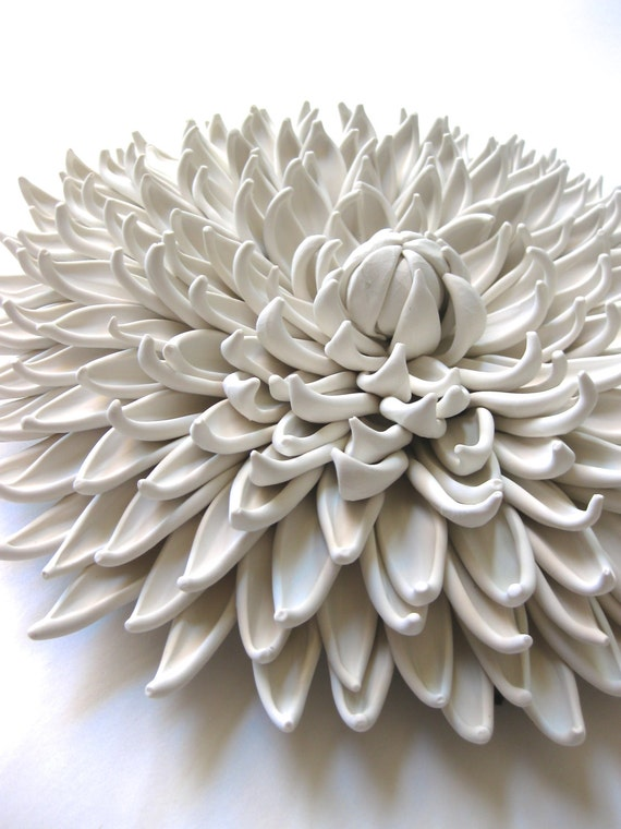 Dana Iris Dahlia Clay Wall Sculpture