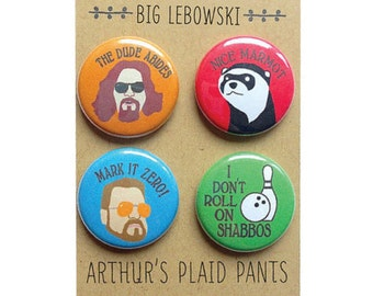 Big lebowski badges, the dude, big lebowski magnet, the dude abides, pinback buttons, magnet set