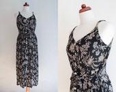 Vintage 1990's Dress - Black Floral Dress - Grunge Sundress - Size S