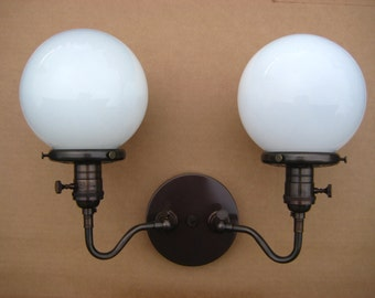 Double Wall Sconce Lighting - Articulating Light w/ Milk Glass Globe - Antique Style Cloth Wire - Hand Finished in Oil Rubbed Bronze