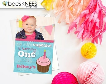 Baby First Birthday Invitation Our little cupcake for girls any age I customize you print