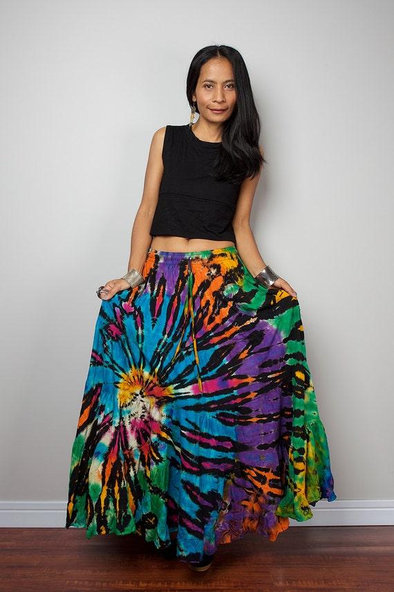Summer Skirt Tie Dye Skirt Hippie Maxi Skirt Funky