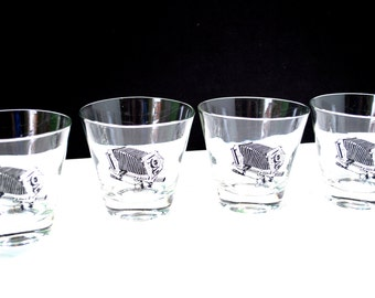 Set 4 Accordian Camera Rock Glasses Old Stock 9 OZ