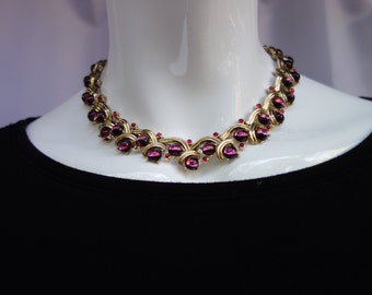 TRIFARI Vintage Purple and Red Cabochons Choker Necklace