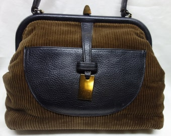 ROGER VAN S. Vintage 60s Corduroy and Pebbled Leather Purse