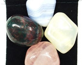 FEMININE ENERGY Tumbled Crystal Healing Set - 4 Gemstones w/Description Pouch -  Bloodstone, Blue Lace Agate, Moonstone, & Rose Quartz
