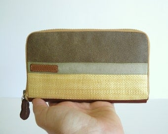 Medium women's retro wallet // khaki waxed-resined canvas- natural raffia women wallet-gift for her / aseismanos
