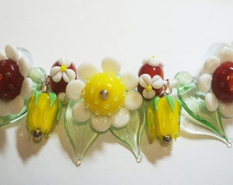 Handmade Lampwork Flowers/ Rosebud/Leaf Glass Beads - Yellow/Red/White