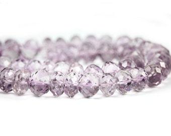 Pink Amethyst Micro Faceted Rondelles 5 Pale Lavender Purple Semi Precious Gemstone