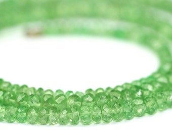 Valentines Sale Tsavorite Garnet Micro Faceted Rondelles 10 Translucent Green Semi Precious Gemstone January Birthstone