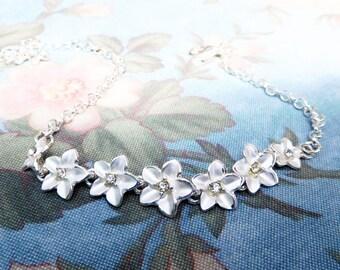 Silvery White Plumeria Anklet