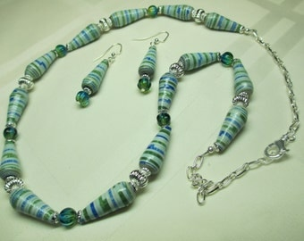 Blue and Green Paper Bead Necklace with Blue and Green Glass Beads