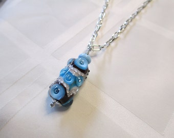 Lampwork Bead Pendant Necklace in Turquoise Blue and Dark Chocolate Brown