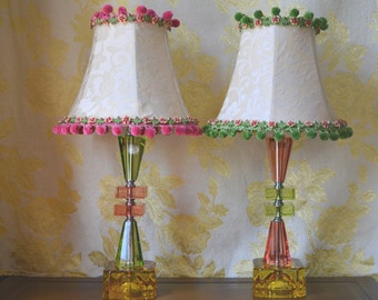 """Table Lamp Pair, Hand Stained with Hand Made Shades, 18""""h. x 3.5"""" at base x 9"""" round shade"""