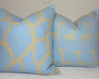 Two Decorative Pillow Throw Pillow Blue & Tan Giraffe Nursery Baby Boy Pillow Cover Set 18x18