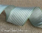 "Wired Ribbon, 1 1/2"", Sage Green Cream Gingham Check, TWO & 1/2 YARDS, Offray Ribbons Plaid ""Sage MicroCheck"" #705611 Wire Edged Ribbon"