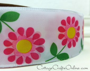 """Wired Ribbon, 1 1/2"""",  Pink Daisy, Yellow Center Floral Print Taffeta  - FIFTY YARD ROLL - Offray """"Flirt"""" Spring, Flower Wire Edged Ribbon"""