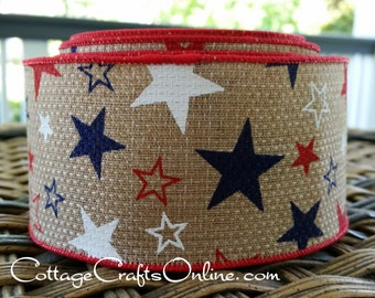 "Wired Ribbon 2 1/2"", Red, White, Navy Blue Stars, Coarse Weave, TEN YARD ROLL, ""Stars Hopsack"" Americana, July 4 Patriotic Wire Edged Ribbon"
