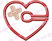 G-Tube Cover - Heart-Bandaid - Applique - Machine Embroidery Design - 2 sizes