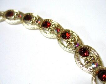 1960's CORO Red Rhinestone Bracelet, aurora borealis, AB rhinestones, gold tone, rhodium, spring and summer, Gift Idea, Excellent