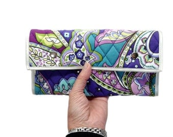 Women's Wallet - Large Quilted Wallet with card slots and zipper pocket - Clutch Fabric Wallet - Handmade Wallet - Accordion wallet