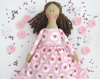 Fabric doll in pink dress cloth doll cute brunette softie plush rag doll - gift for birthday, baby shower, nursery decor