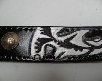 mens tooled  leather belt, Maori stingray