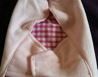 Pink fleece jacket for small dog