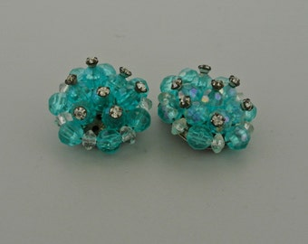 Turquoise Bead and Rhinestone Clip on Earrings