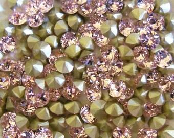 Swarovski 1088 Rosaline  Foiled 29ss Crystal Chaton - 6 Pieces