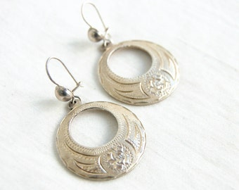 Mexican Dangle Earrings Vintage Alpaca Etched Round Dangles Colonial Style