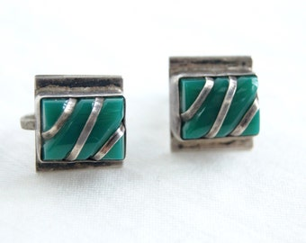 Mexican Screw Back Earrings Antique Jade Green Sterling Silver Square Screwbacks Hecho en Mexico