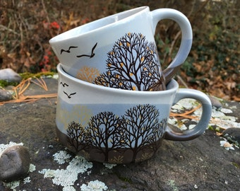 Vintage Ceramic Mug / Soup Bowl - Haindpainted TREE Print Mugs - Ceramic Nature Dining Set