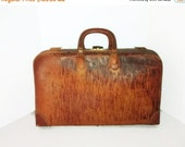 Valentine SALE Antique Leather Monogrammed Briefcase , Sole Leather , Tattersall Plaid , Original Key