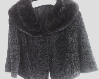 vintage jacket , 1940s fur collar , textured velvet coat